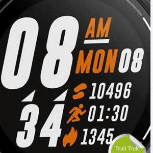 Aperçu rapide de l'activité pour une montre gps